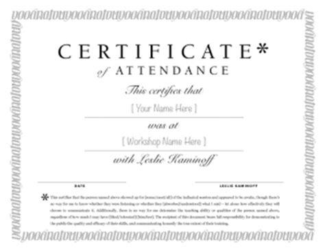 certificate of attendance seminar template you were here anatomy