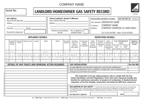 gas safe landlord home owner gas safety record cp