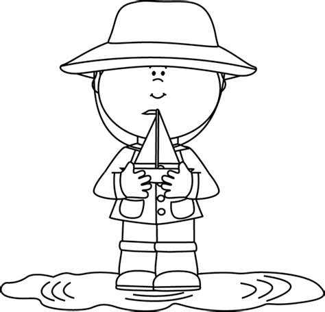 Toy Boat Outline by Black And White Boy In Rain Puddle With Toy Boat Clip Art