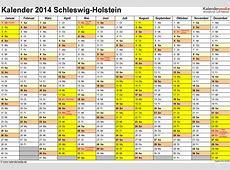 Kalender 2014 SchleswigHolstein Ferien, Feiertage, Excel