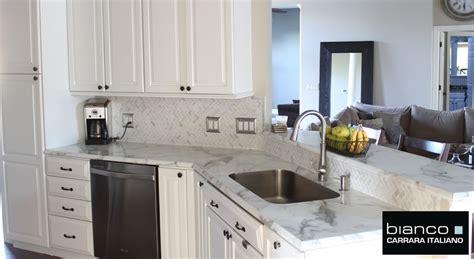 kitchen with tile backsplash carrara bianco honed 1x2 herringbone mosaic tile