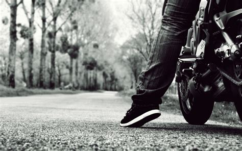 Vehicles Motorcycles Bikes People Roads Mood Black White