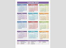 Free SA calendar 2019 Template PDF, Excel, Word Templates