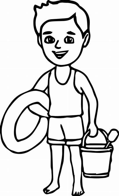 Coloring Boy Pages Beach Summer Sheet Drawing