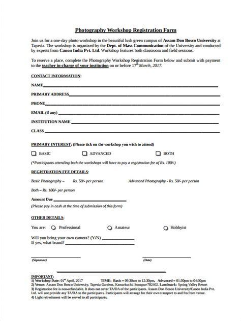 Sle Workshop Registration Form Template by 10 Workshop Registration Forms Free Sle Exle