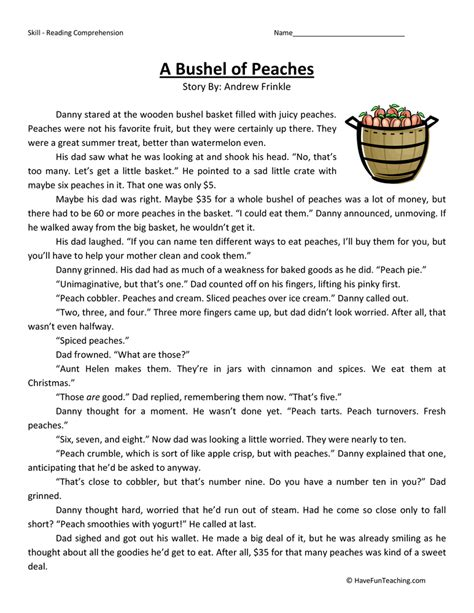 Impressive Free Short Stories Fifth Grade Level On Fourth Grade Reading Prehension Worksheets