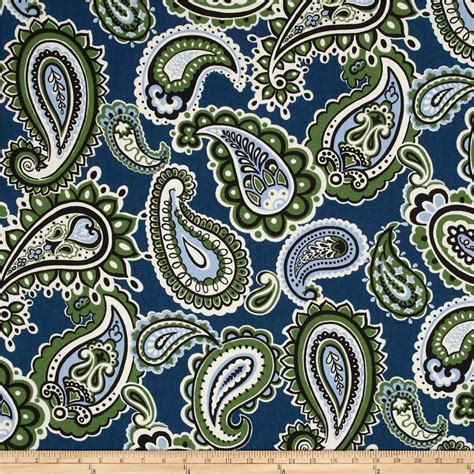 Blue Paisley Upholstery Fabric by Tempo Paisley Blue Green Discount Designer Fabric