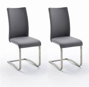 Esszimmerstuhl Grau Leder : 2 x stuhl arco grau freischwinger leder ~ Watch28wear.com Haus und Dekorationen