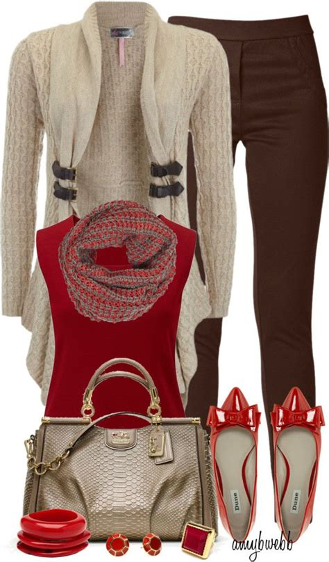 8 best images about Outfits - Red u0026 Brown on Pinterest | More best Brown vest Waterfall ...