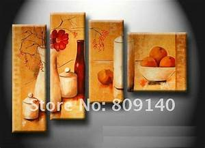 kitchen dining room oil painting canvas stretched artwork With best brand of paint for kitchen cabinets with cheap modern wall art