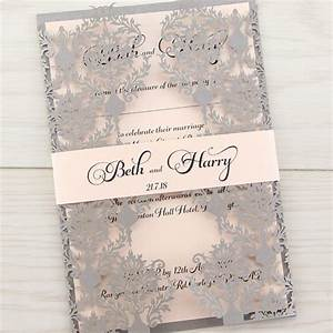 rosa with belly band pure invitation wedding invites With josephine laser cut wedding invitations
