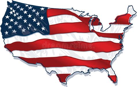 Usa Country-shaped Flag Stock Vector. Illustration Of