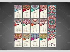 Calendar in ethnic style 2016 year ~ Business Card