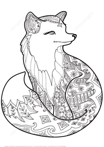 zentangle fox coloring page  printable coloring pages