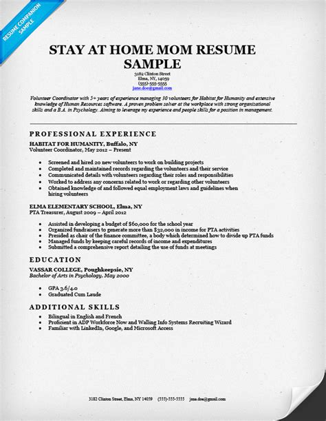 Work At Home Resume Sle by Sle Resume For Stay At Home Returning To Work 28 Images