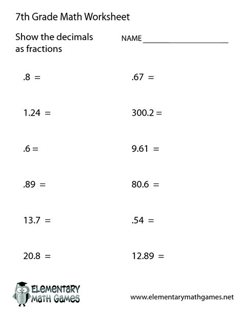 7th Grade Worksheet Category Page 1 Worksheetocom