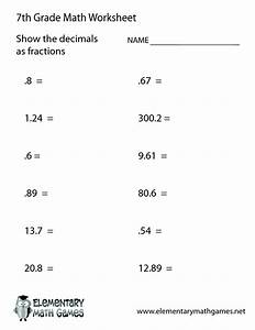7th Grade Worksheet Category Page 1