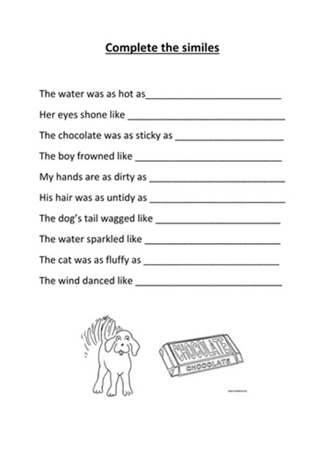Complete The Similes Activity By Kayld  Teaching Resources Tes