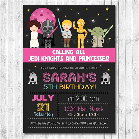 star wars birthday invitation star wars invite