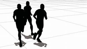 Three men of the sportsman run on a large grid. Black on ...