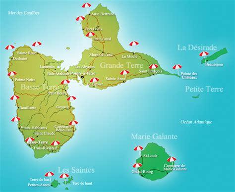 Carte Des Plages De by Les Plages De Guadeloupe Terres De Guadeloupe