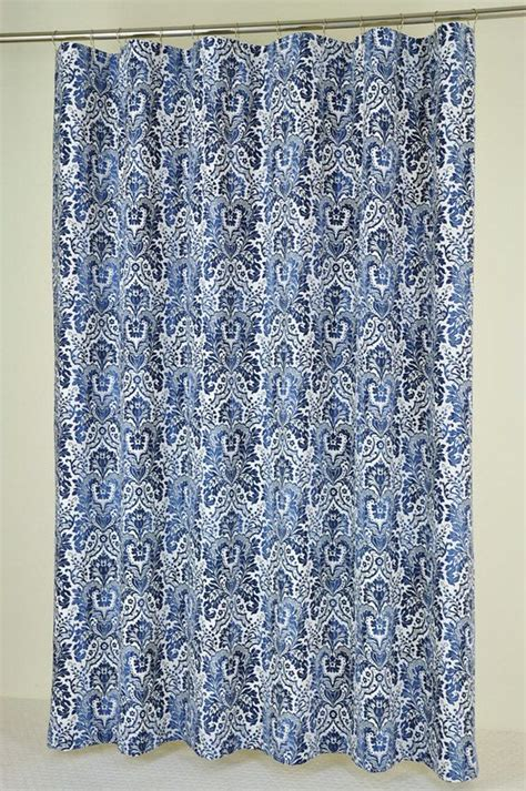 72 x 78 navy damask shower curtain by
