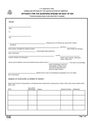Next Of Kin Form Template next kin application form fill printable