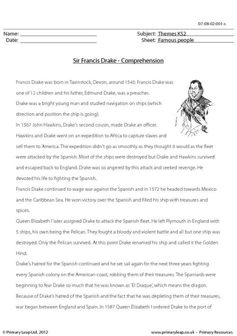 sir francis comprehension primaryleap co uk