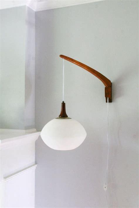 vintage mid century teak danish modern wall mount swivel