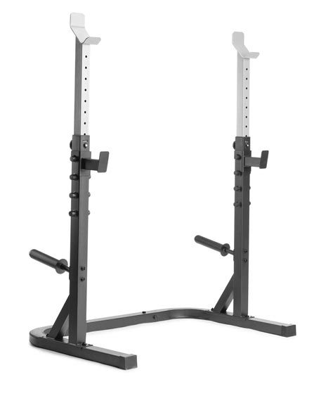 weider attack series olympic squat rack  adjustable spotting arms  integrated weight