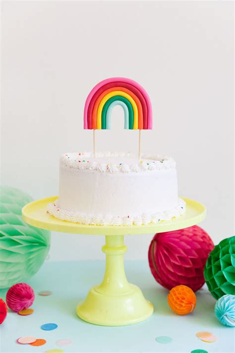 diy rainbow cake topper  love  party