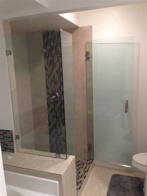 shower enclosure notched  pony wall patriot glass