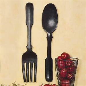 shelley b decor and more oversized large black spoon With kitchen cabinets lowes with large knife fork and spoon wall art