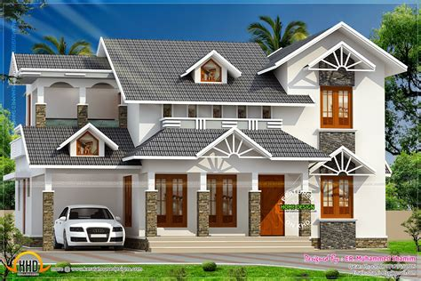 Bedroom Sloped Roof House Design Kerala Collection And