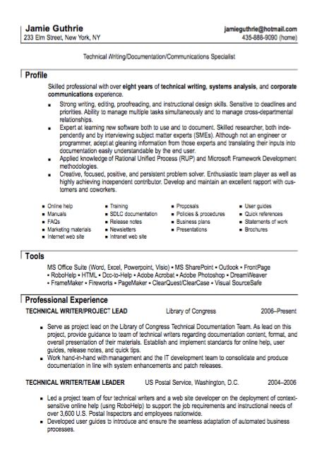 Technical Resume by Technical Writer Resume