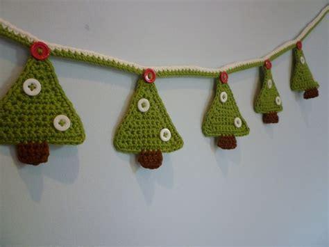 hand crochet christmas tree bunting christmas trees
