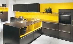 Ophreycom cuisine moderne jaune et gris prelevement d for Idee deco cuisine avec cuisine contemporaine blanche et grise