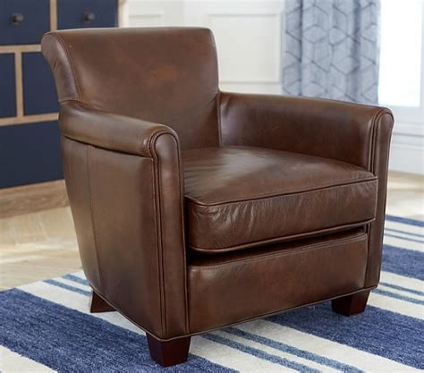 lhuillier mini leather irving chair pottery barn