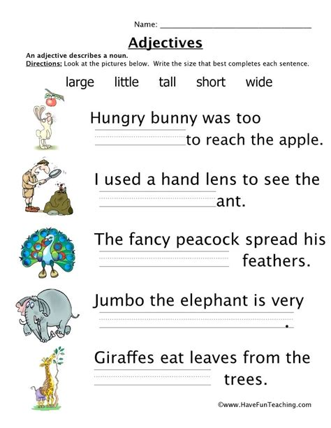 adjectives for grade worksheets rcnschool