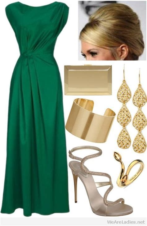 Nice emerald green dress with gold accessories   outfit ideas green   Pinterest   Emerald green ...