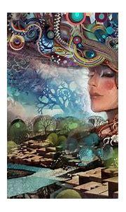 Wallpaper : face, trees, painting, illustration, digital ...