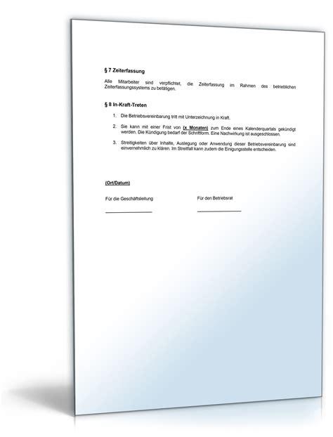 betriebsvereinbarung arbeitszeit muster vorlage zum