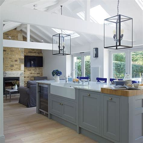 grey open plan shaker style kitchen shaker style