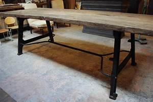 Table De Jardin Bois Et Metal : table industrielle m tal bois par le marchand d 39 oublis ~ Teatrodelosmanantiales.com Idées de Décoration