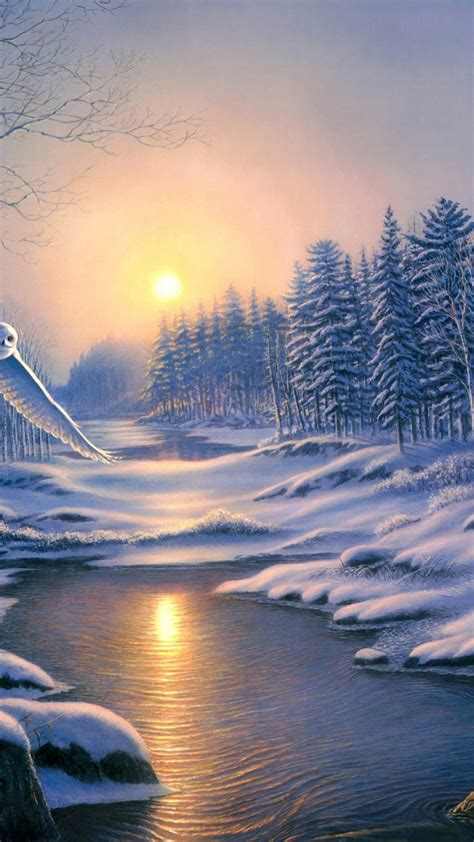 winter landscape painting scenery android wallpaper