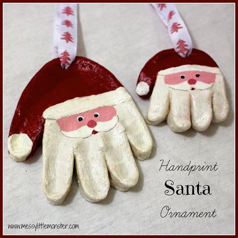 messy little monster santa handprint ornaments