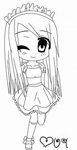 Maid Lineart Coloring Deviantart sketch template