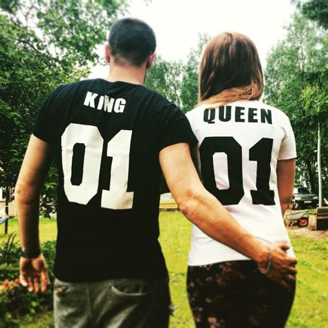 shirts woman  neck cotton king queen  letter print