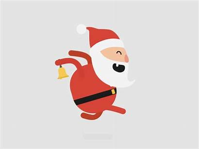 Santa Animated Running Giphy Noel Clipart Gifs
