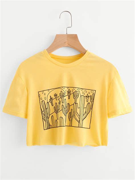 neck cropped t shirt cactus print crop teefor romwe